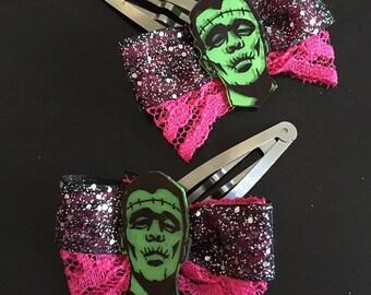 Frankenstein Hair clips Bows