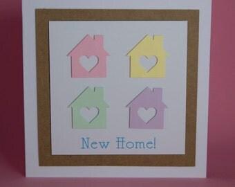 4 Pastel Houses New Home Handmade Card