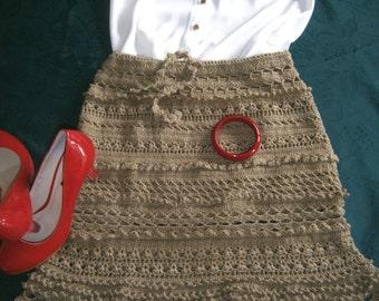 crocheted brown skirt