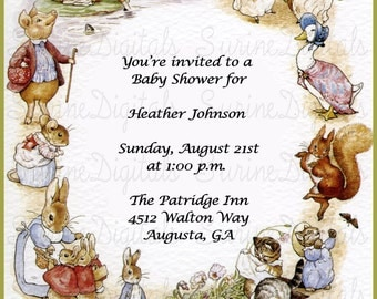 Baby Shower Invitation inspired by Beatrix Potter, Beatrix Potter Book Baby Shower Invitation