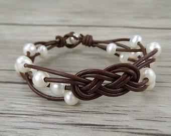 braid pearl bracelet pearl leather bracelet pearl wrap bracelet women Fresh water pearl bracelet gypsy pearl bracelet boho bracelet SL-0235