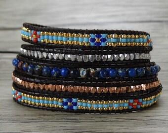 Gypsy wrap bracelet Mixed blue bead wrap bracelet Bohemian seed bead bracelet 5 wraps bracelet yoga leather bracelet bead jewelry SL-0406