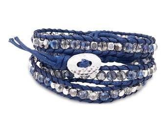Triple Wrap Bracelet, Blue Gem Beaded Wrap Bracelet, 3 Wrap Bracelet, Gift for Girls, Beaded Wrap Bracelets, Beaded 3 Wrap Bracelet