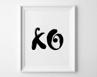 XO Wall Art, Printable Poster, XO Print, Hugs and Kisses, xo art, Downloadable Art, XO Wall Prints, Modern Decor, Love Prints, Kiss Poster