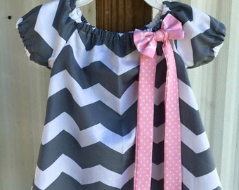Grey Chevron Dress with Pink Detacable Bow