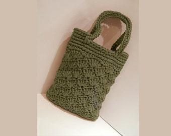Crocheted handbag / handmade handbag / market sand bag / knit / color rope bag / women accessorie / lady accessorie /olive green handbag