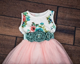 Light Pink Tulle Dress, Floral Mint Dress, Cotton Dress with Floral, Photography Prop, Birthday Dress, Flower Girl, Size 2T, 3T, 4T, 5T, 6
