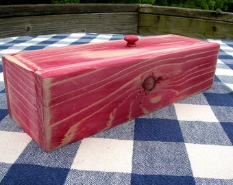 Lidded Box - Cedar - Red - Jewelry Organizer, Desk Organizer - Distressed