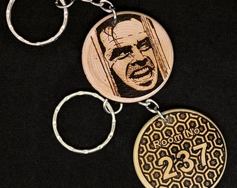 Jack Nicholson The Shining Heres Johnny Room 237 hand made engraved wood keyring Keychain by JayEngrave