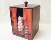 Wooden box Kittens wood box wooden decoupage box wood box storage box decorative box decoupaged box storage treasure box gift for her