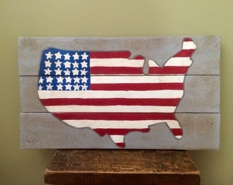 Reclaimed Wood American Flag Wall Art Shabby Chic Americana Art