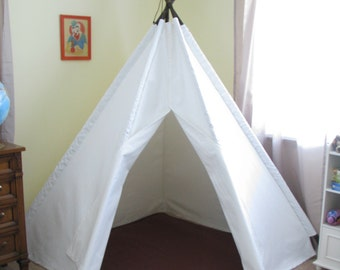 6' Bright White Corner Tepee Tent