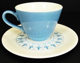 Homer Laughlin Richelieu Fleur de Lis Coffee Cup Saucer Set Mid Century Modern MCM