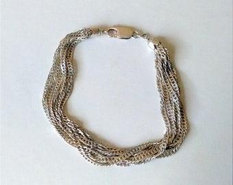 """Vintage Signed MILOR 925 Sterling Silver Multi Strand Chain Bracelet 6.5"""" - 7"""" Wrist Width"""