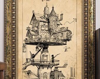 Albert Robida Art Print Steampunk Futuristic Aerial Rotating House Antique Vintage 1883