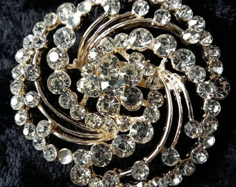 Large Rhinestone and Gold Straight Pin Brooch