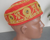 Vintage Hand-Embroidered Red Hat / Red Ethnic Cap With  Embroidery And Mirrors / Embroidered Cap With Mirrors / Round Ethnic Hat .