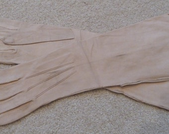 Long Kid-leather Tan Gloves - Made in France - Vintage - 1950's