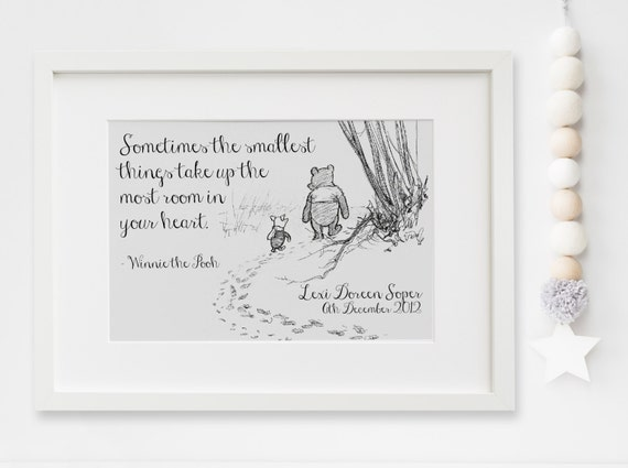 Winnie the pooh lexis little prints personalised new baby boygirl winnie the pooh quote nursery birth name print keepsake picture negle Image collections
