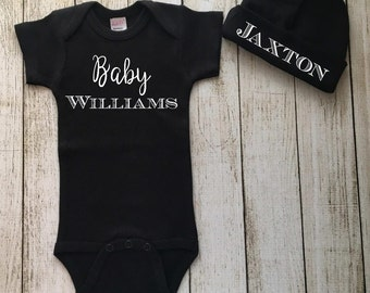 Baby Boy Outfit with Beanie, Custom Baby Bodysuit, Baby Coming Home Outfit, Gender Neutral Baby Gift, Personalized, Monogrammed, Baby Shower