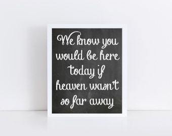 Wedding We know you would be here today if heaven wasn't so far away Printable, Wedding Instant Download, In Loving Memory