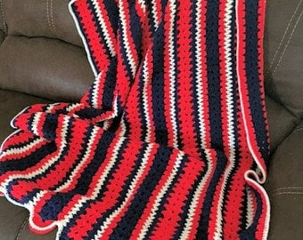 Crocheted Red, White and Blue Afghan