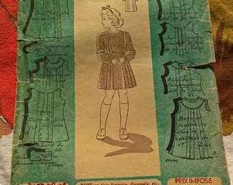 "40's Fabulous french vintage pattern - ""Patron Modèle"" 15099 Dress for a 6 years old girl"