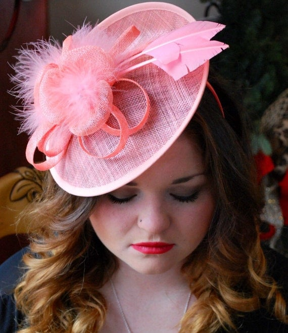 Coral Fascinator Tea Party Hat Church Hat Kentucky Derby