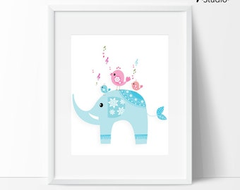 Instant downloads : Baby Elephant With Little Bird Singing