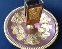 E.F. Caldwell antique match holder cigarette tray. Gold gilt on copper brass