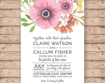 Floral Wedding Invitation - Print at Home File or Printed Invitations - Modern Floral Watercolour Wedding Invite - Watercolor