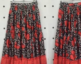 70's Satin Poppy Skirt