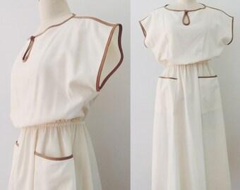 Vintage 1970's cream dress with latte trim
