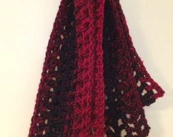 Red and Black Crocheted Scarf