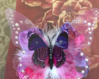 Pink and Purple Butterfly Bow