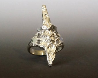 Wizard Ring, Sterling Silver Wizard Ring with Stars and Moon by JunoBone