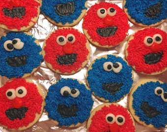 Cookie Monster & Elmo Buttercream Frosted Sugar Cookies