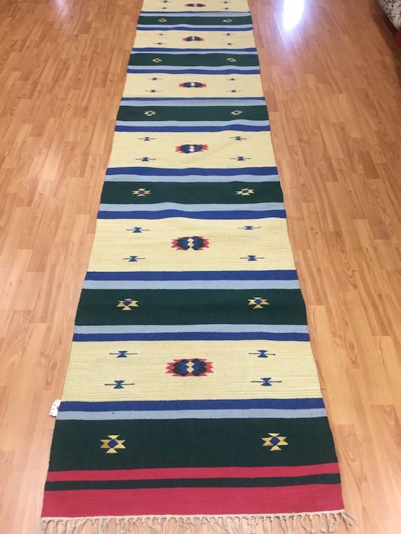 """2'6"""" x 12'7"""" Native American Navajo Floor Runner Oriental Rug - Hand Made - 100% Wool"""