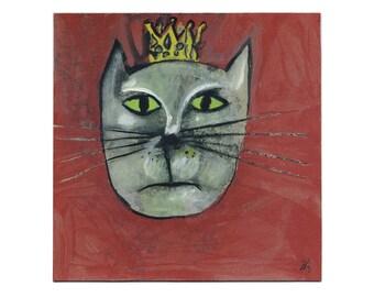 """Cat picture 20/20 cm """"King cat"""" / portrait - animals painting"""