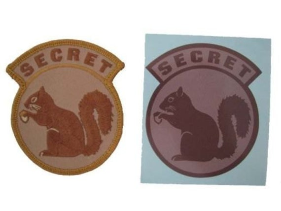 Secret Squirrel Protect Your Nuts Patch: Military Black Ops Army Navy Secret Squirrel DESERT TAN Patch