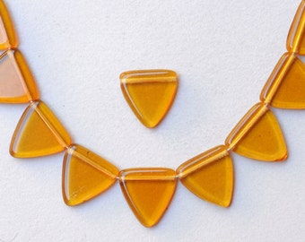 17mm Czech Glass Triangle Beads - Various Shiny Colors Available - Qty 10