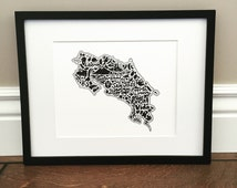 """Costa Rica Map Art Print - Signed 8.5"""" x 11"""" print of original hand drawn map including Costa Rican landmarks, culture, symbols, and cities"""
