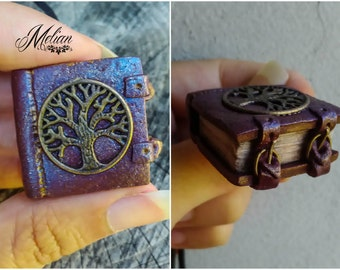 Book pendant, miniature book, book jewelry, tree of life book