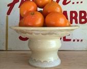 Yellow Fruit Bowl   Pedestal   Handmade Ceramic