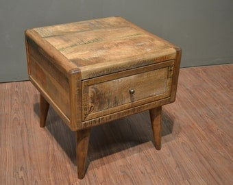 Rustic Solid wood Retro Mid Century Style End Table or Nightstand