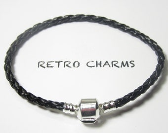 Black Braided Bracelet w/Sterling Silver Clamp