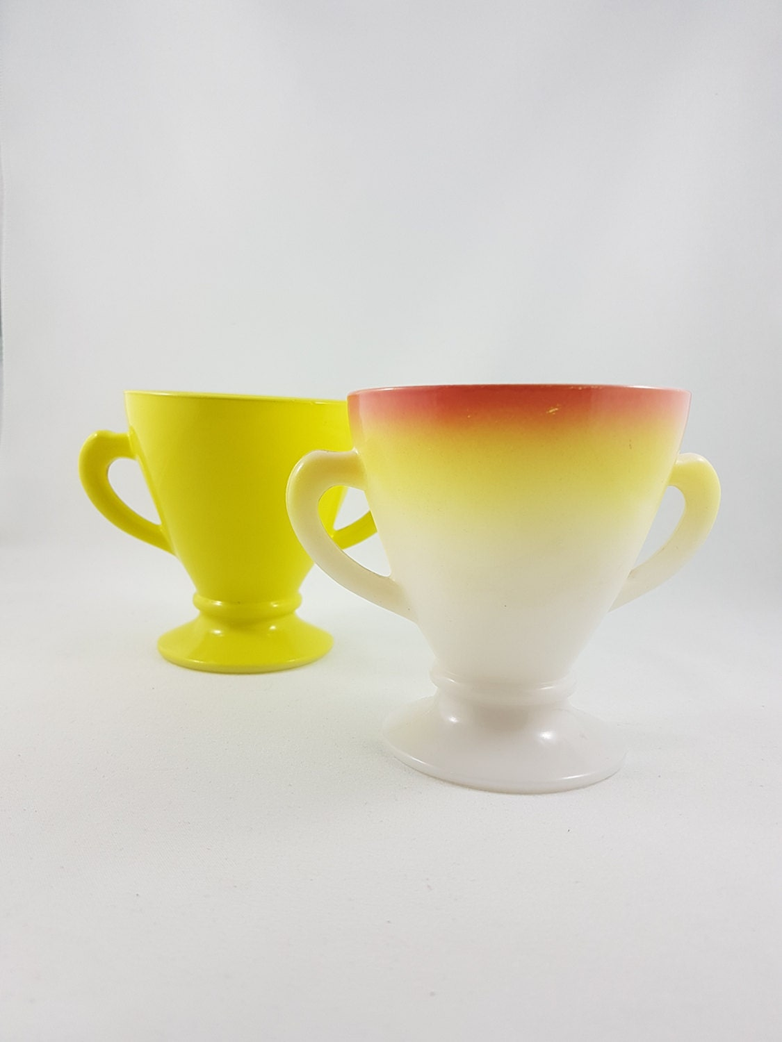 Yellow sugar bowls with lids - 2 Vintage Hazel Atlas Ovide Platonite Pink And Yellow Ovide Yellow Sugar Bowl Milk Glass Ombre Two