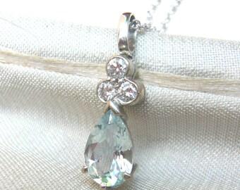 AQUAMARINE & Diamond 18ct White Gold Pendant on Chain | Genuine Aquamarine and Diamond Necklace | Aquamarine Necklace | Wedding Necklace