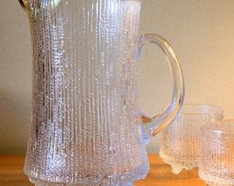 Vintage Iittala Pitcher, Ice Glass Ultima Thule Pitcher designed by Tapio Wirkkala, 1960's Finnish Glass, Textured Glass Jug with Ice Lip