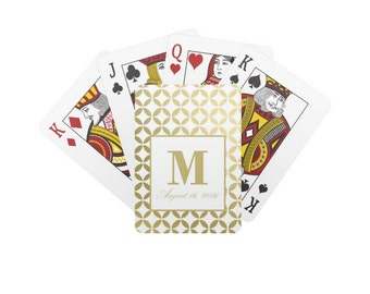 Monogram Navy And White Wedding Playing Cards Personalized